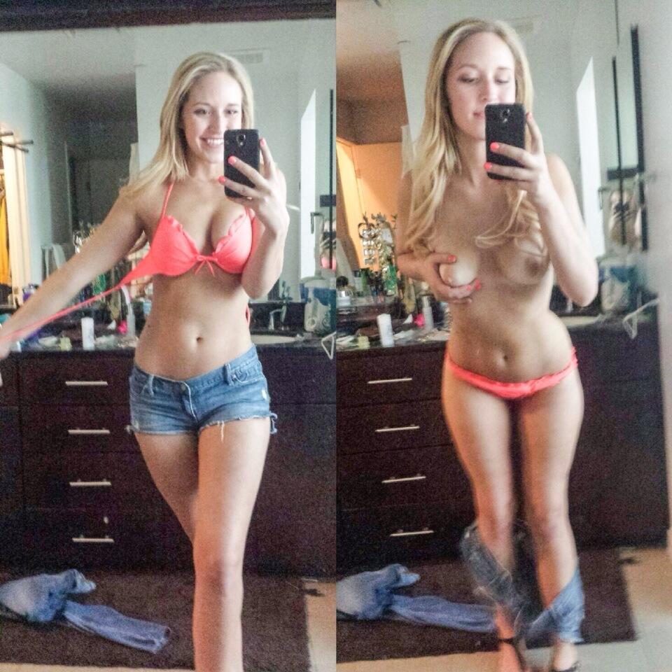 Грудастые девки снимают себя голышом перед зеркалом